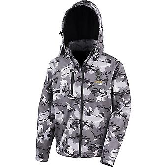 Queens Own Highlanders Veteran - Licensed British Army Embroidered Performance Hooded Camo Softshell Jacket