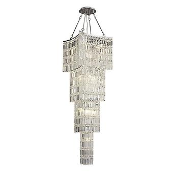 Diyas Gianni Tall Pendant 11 Light Polished Chrome / Crystal