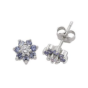 Jewelco London Rhodium Plated Silver Blue and White Round Brilliant Cubic Zirconia Flower Cluster Stud Earrings