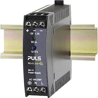 PULS MiniLine ML15.121 Rail mounted PSU (DIN) 12 V DC 1.3 A 15 W 1 x