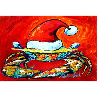 Carolines Treasures  MW1169PLMT Crab in Santa Hat Santa Claws Fabric Placemat