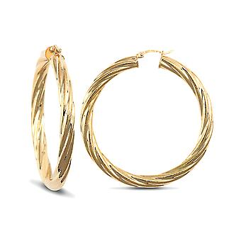 Jewelco London Ladies 9ct Yellow Gold Twisted 5mm Boucles d'oreilles Hoop 50mm