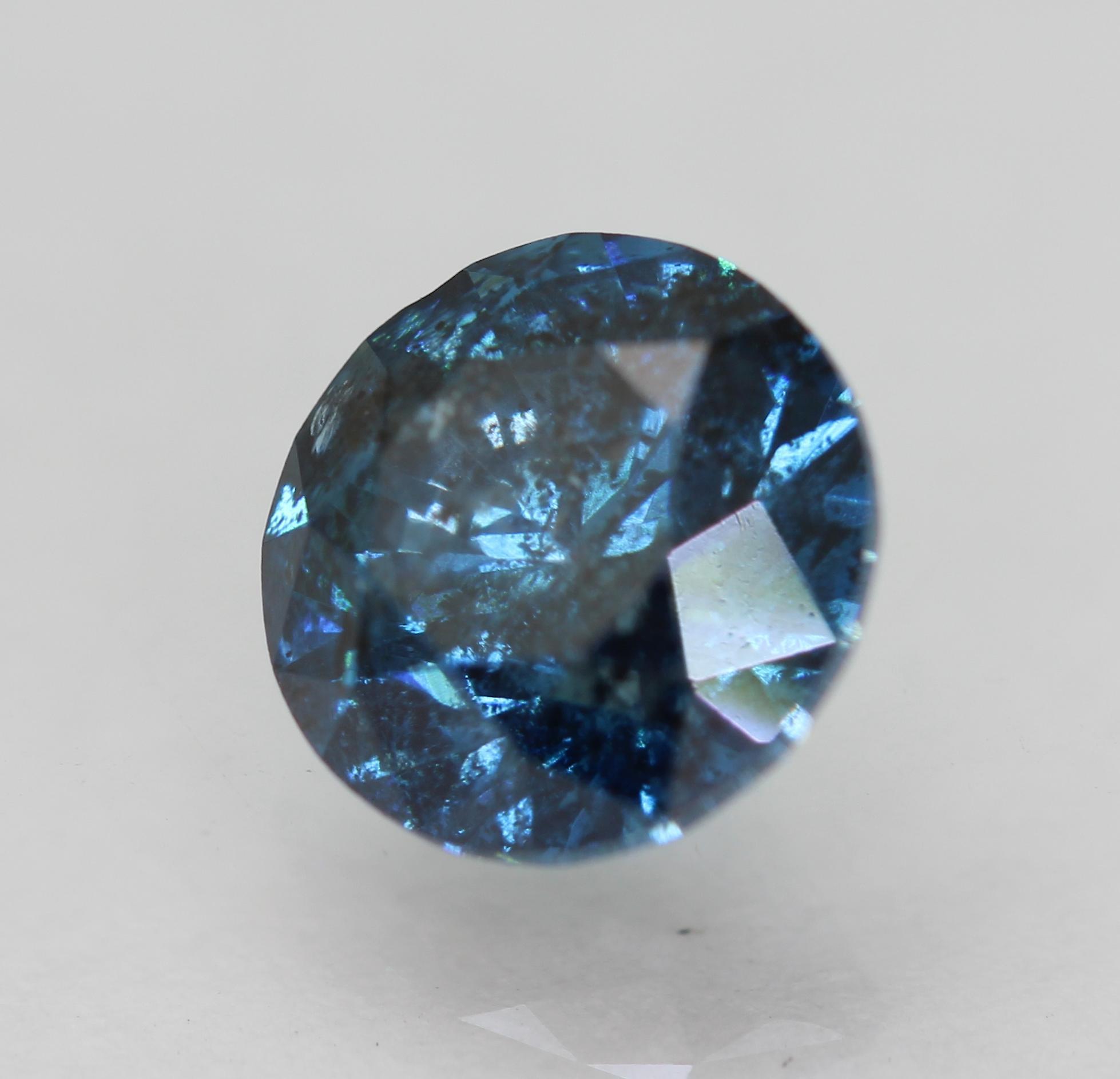Cert 1.60 Carat Vivid Blue SI2 Round Brilliant Enhanced Natural Diamond 7.26mm