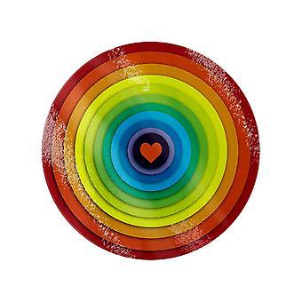 Grindstore Rainbow Heart Circular Glass Chopping Board
