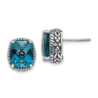 925 Sterling Silver London Blue Topaz Post Earrings Jewelry Gifts for Women - 11.00 cwt