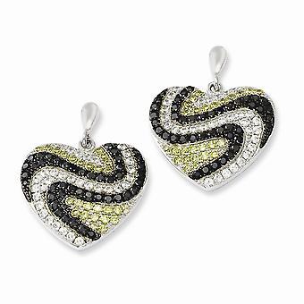 925 plata esterlina Dangle Rhodium plateado y CZ Cubic Zirconia simulado diamante brillante ascuas amor corazón Post Earri