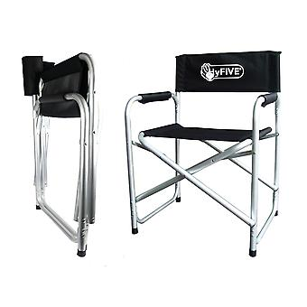 Aluminium Directors Folding Chair With Arms Director Camping Garden Black/Blue