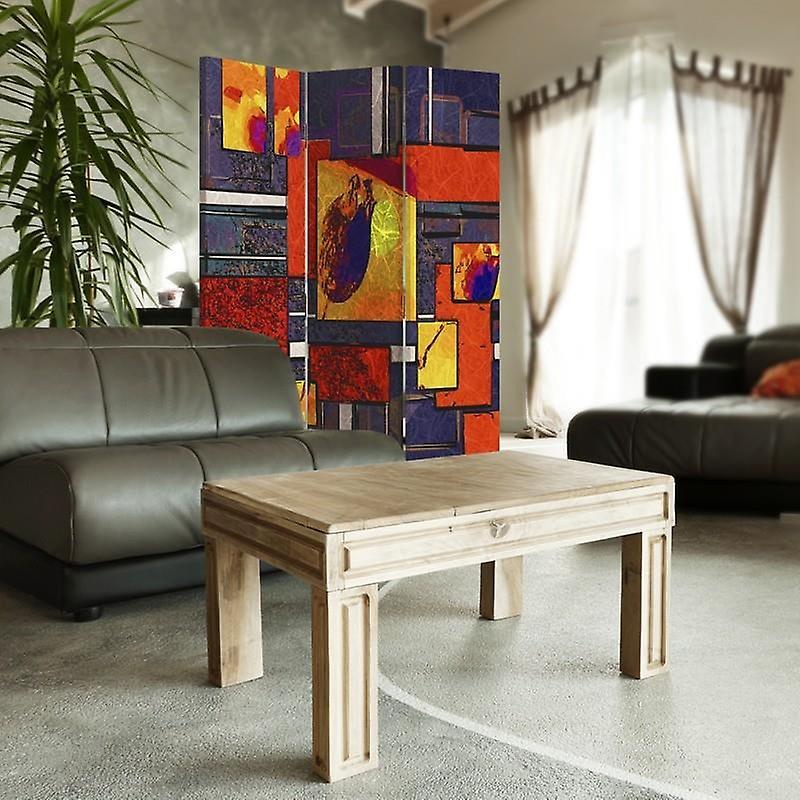 Diviseur de chambre, 3 panneaux, unilatéral, toile, abstraction géométrique 1