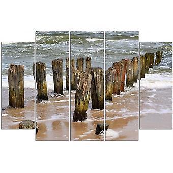 Cinco partes de imagen en lienzo, Pentaptych, tipo B, rompeolas en la playa