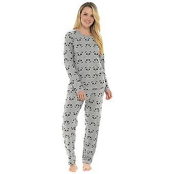 Ladies Panda Print Pyjama Set Loungewear Sleepwear
