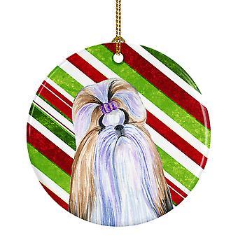 Shih Tzu Candy Cane vacaciones Navidad adorno cerámica SS4534