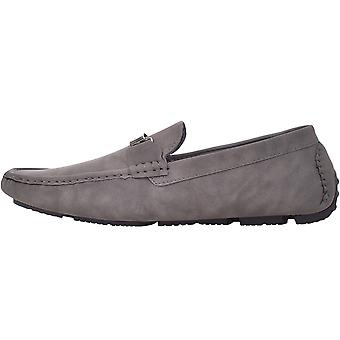 Duke D555 Mens Oakland Wide Fit Casual Slip On Deck Boat Shoes Moccasins - Grey