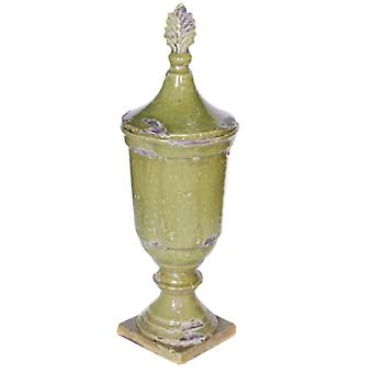 Artistic Ceramic Lidded Jar ,Green