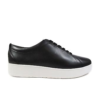 Fitflop Rally Black Leather Womens Lace Up Sneaker Trainers