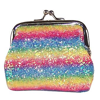 Girls sparkly rainbow glitter purse