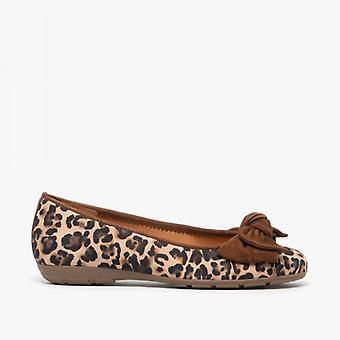 Gabor Rødstilk damer skinn ballerina sko Leopard