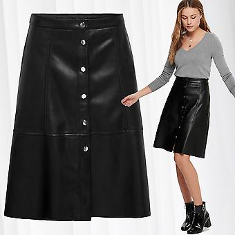JDY Women's Skirt Coated Leather Midi Knee Length Pleated PU Leather Buttons