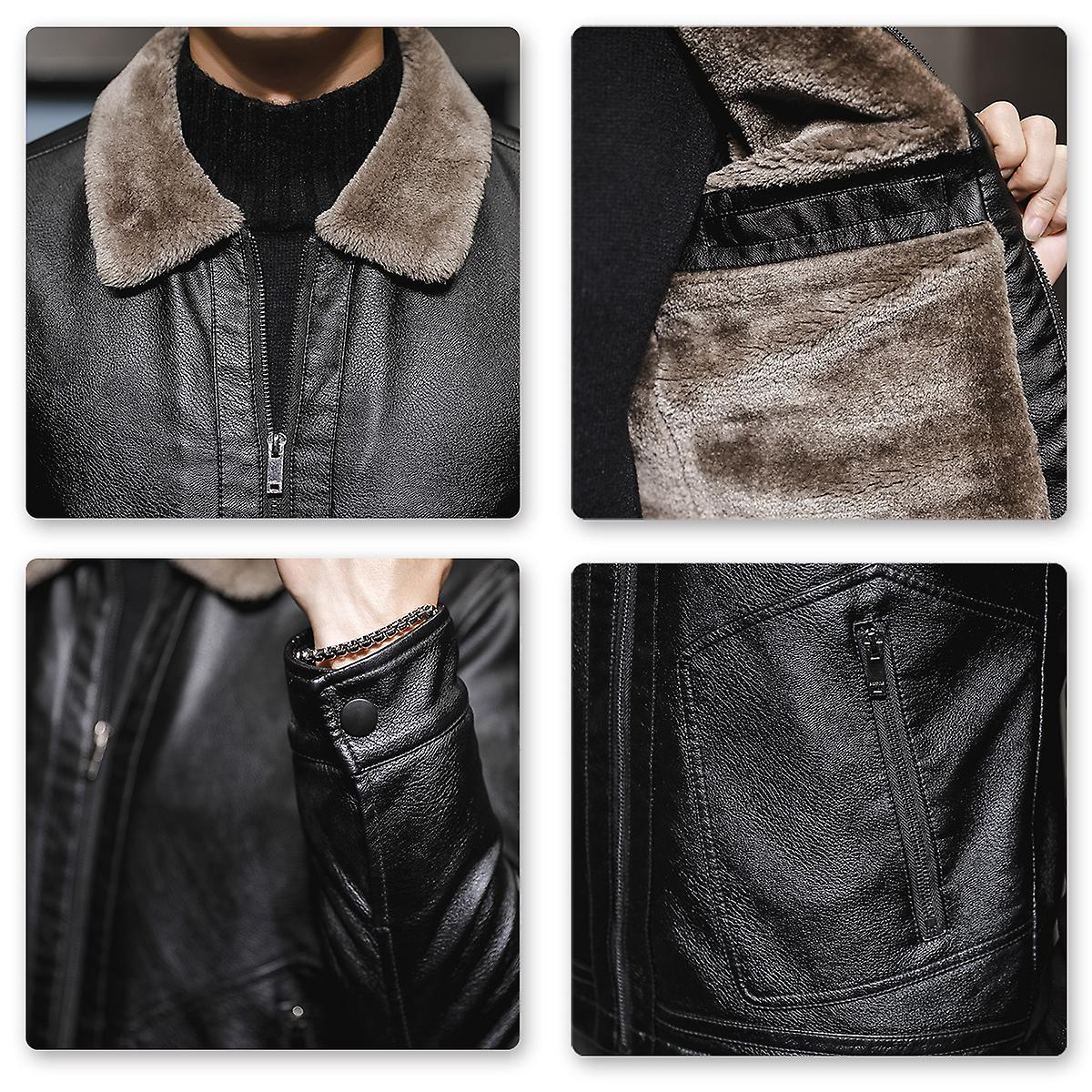 Allthemen Men's Solid Lapel Faux Wool Leather Coat