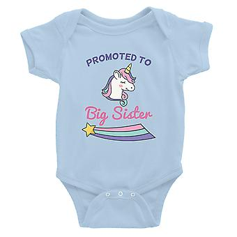Promoted To Big Sister Baby Bodysuit Gift Sky Blue For Baby Shower
