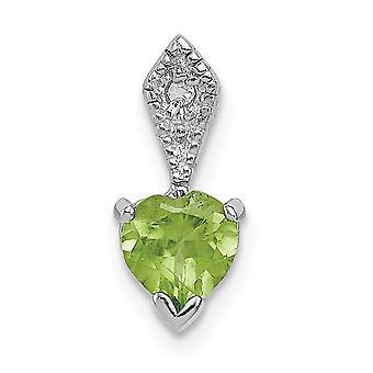 925 Sterling Silver Polished Rhodium-plated Diamond and Peridot Heart Pendant - .01 dwt