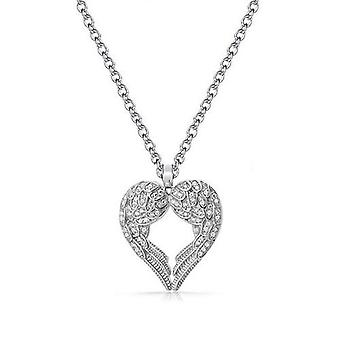 18k white-gold plated wings necklace