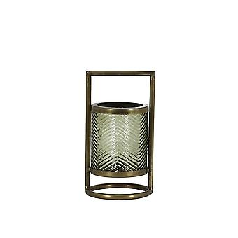 Light & Living Hurricane Ø12x24 Cm THILO Glass Olive Green+antique Bronze