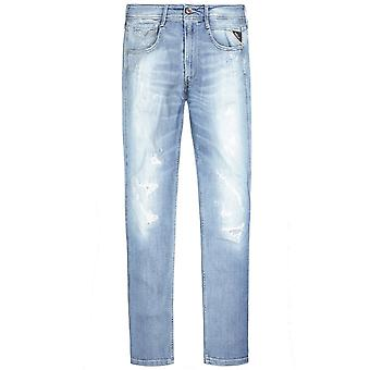 Replay Anbass Aged 20 Distressed Jeans Light Blue