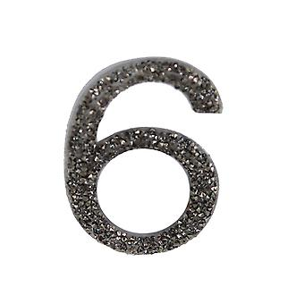 Gunmetal Glitter Number Sticker - Number 6