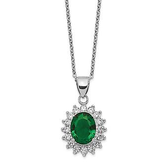 14.19mm Cheryl M 925 Sterling Silver Brilliant cut CZ Cubic Zirconia Simulated Diamond and Green Glass Necklace 18.25 In