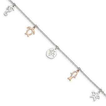 925 Sterling Silver and Rose tone Seashore Dangles With 1inch Ext. Anklet 9 Inch Jewelry Gifts for Women