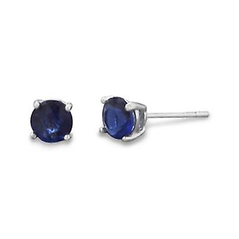 9月スタッドイヤリング。5mmロジウムメッキダークブルーCZキュービックジルコニアシミュレートダイヤモンド。女性のためのジュエリーギフト