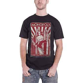 Monopoly T Shirt ich besitze die Stadt retro Logo neue offizielle Herren schwarz