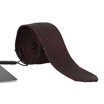 Dolce & Gabbana Bordeaux 100% Silk Pattern Slim Tie