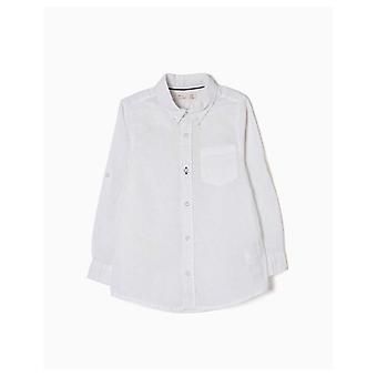 Zippy Linen White Shirt