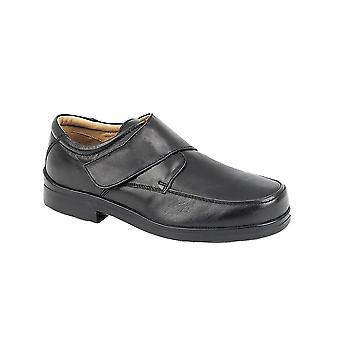 Roamers Black Softie Leather Xxx Extra Wide Touch Fastening Casual Shoe