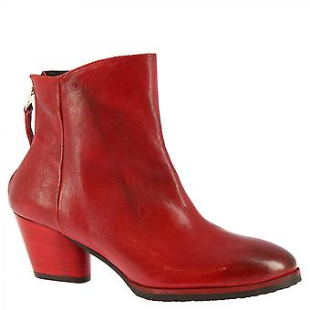 Leonardo Shoes Women's handmade heels ankle boots red calf leather back zip