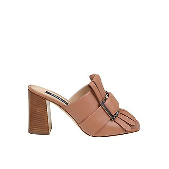 Sergio Rossi A89050mfn9432222 Women's Brown Leather Slippers