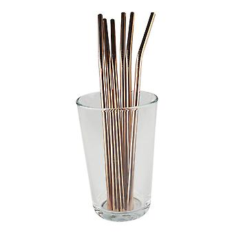6x curved metal Straw-Rose