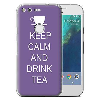 STUFF4 Gel TPU Case/Cover for Google Pixel (5.0'')/Drink Tea/Purple/Keep Calm