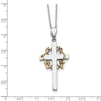 925 Sterling Silver polerad gåva boxed spring ring rhodium pläterad Accent guld plätering religiös tro Cross Halsband 18