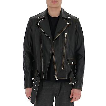 Golden Goose G36mp597a1 Men's Black Leather Outerwear Jacket