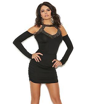 Womens Grommet Detalj och ruched bifogas Sleeve Mini Club Dress