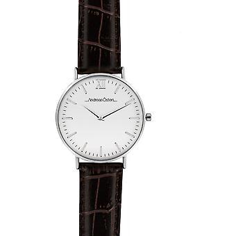 Guarda Andreas Osten AO-55 - Leather Watch Marron Bo argento misto