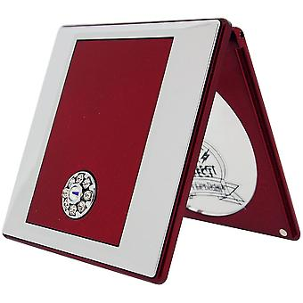 FMG Red Compact Mirror with True Image and 5X Magnification made with Swarovski Crystals