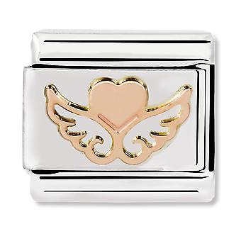 Nomination Classic Heart with Wings Steel and 9k Rose Gold Link Charm 430104/01