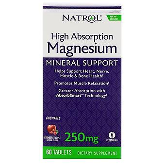 Natrol Magnesium High Absorption 250 mg Cranberry Apple 60 chewable tabs