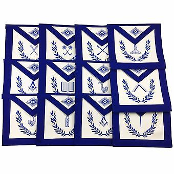 Masonic lodge officers aprons with wreath - set of 12 aprons