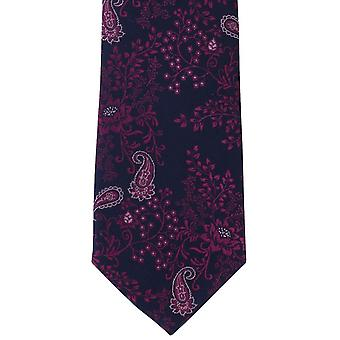 Michelsons London fließende Seide Floral Krawatte - Marine/Pink