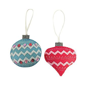 Sewing Kit to Make Two Felt Christmas Baubles