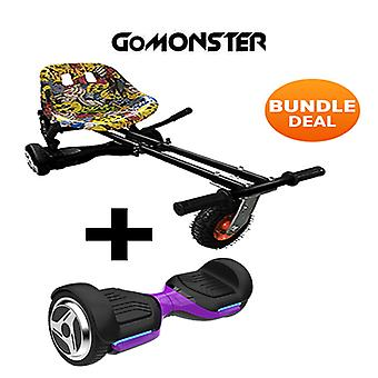 "6.5"" G PRO Purple Bluetooth Hoverboard with Go Monster Hoverkart in Hip Hop"